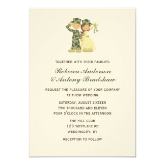 Soldier and Bride Wedding Invitations