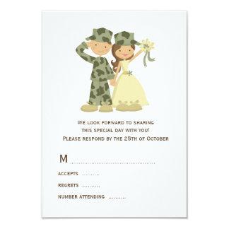 Soldier and Bride Wedding RSVP Cards 9 Cm X 13 Cm Invitation Card