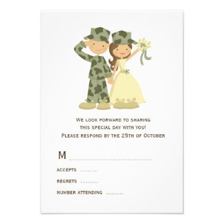Soldier and Bride Wedding RSVP Cards