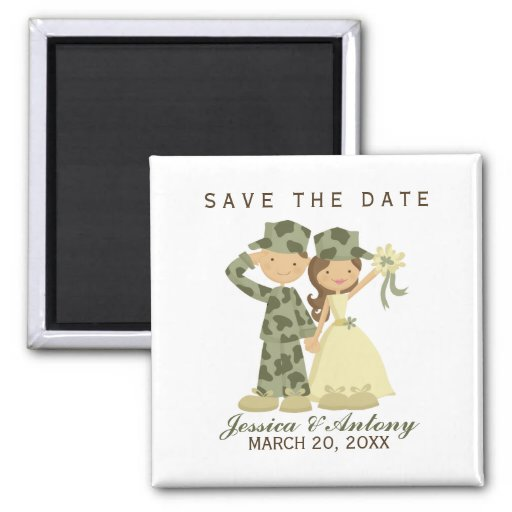 Soldier and Bride Wedding Save the Date Square Magnet