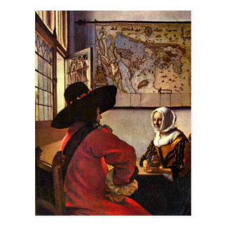 Soldier and girl smiling by Johannes Vermeer Postcard