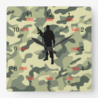Soldier Camo Military Time Wall Clock