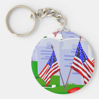 Soldier Cemetery Basic Round Button Key Ring