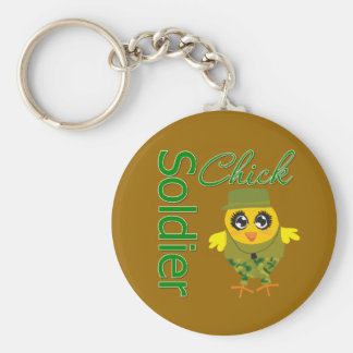 Soldier Chick Basic Round Button Key Ring