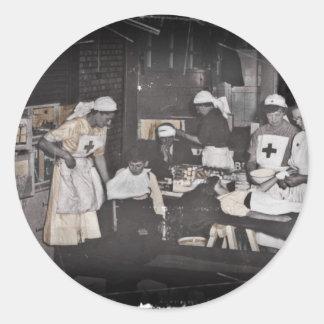 Soldier Child Nurses at First Aid Station Round Sticker