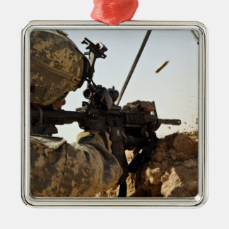 soldier engages enemy forces christmas ornament