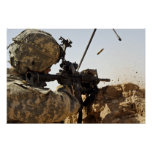 soldier engages enemy forces poster