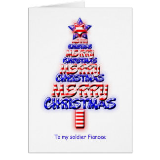 Soldier fiancee, patriotic Christmas tree Greeting Card