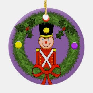 Soldier in Wreath Ceramic Ornament