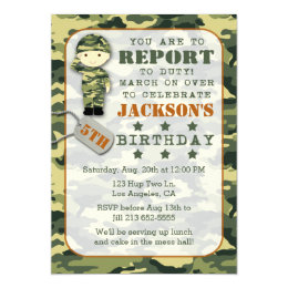 Military birthday cards invitations zazzle soldier military camo boy birthday invitation bookmarktalkfo Image collections