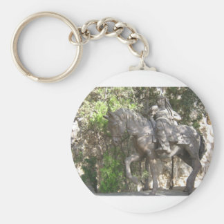 Soldier on horse basic round button key ring