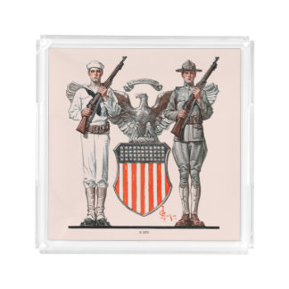 Soldier, Sailor and U.S. Shield Acrylic Tray
