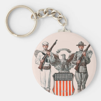 Soldier, Sailor and U.S. Shield Basic Round Button Key Ring