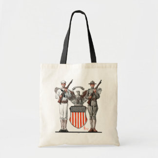 Soldier, Sailor and U.S. Shield Budget Tote Bag