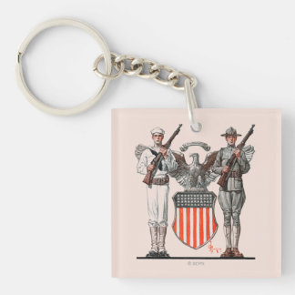 Soldier, Sailor and U.S. Shield Double-Sided Square Acrylic Key Ring