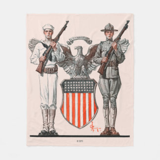 Soldier, Sailor and U.S. Shield Fleece Blanket