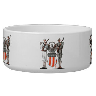 Soldier, Sailor and U.S. Shield Pet Food Bowl