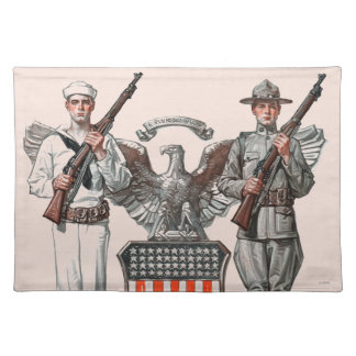 Soldier, Sailor and U.S. Shield Placemat