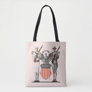 Soldier, Sailor and U.S. Shield Tote Bag