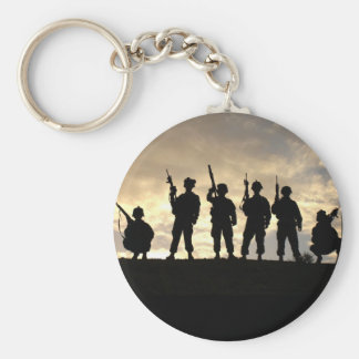 Soldier Silhouettes Basic Round Button Key Ring
