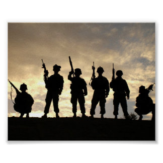 Soldier Silhouettes Poster