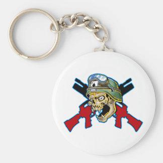 Soldier Skull Design Basic Round Button Key Ring
