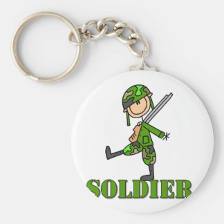 Soldier Stick Figure Basic Round Button Key Ring
