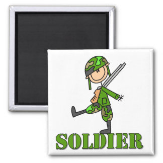 Soldier Stick Figure Square Magnet