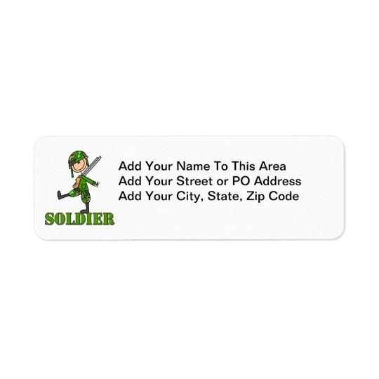 Soldier Stick Figure Return Address Label