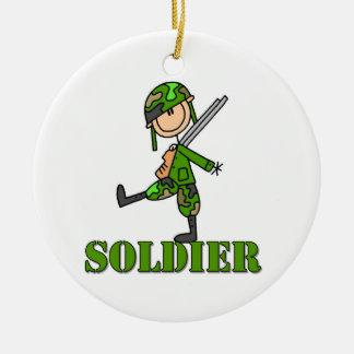 Soldier Stick Figure Round Ceramic Decoration