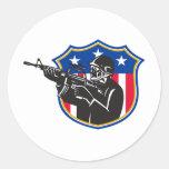soldier swat policeman rifle shield classic round sticker