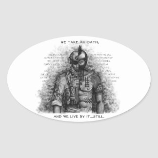 Soldier Warrior - Oath Customize Background Color Oval Sticker