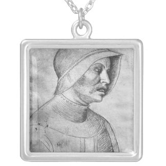 Soldier wearing a helmet silver plated necklace