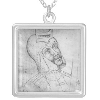 Soldier wearing a visored helmet silver plated necklace