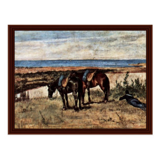 Soldier With Two Horses On The Shore Of The Sea Postcard