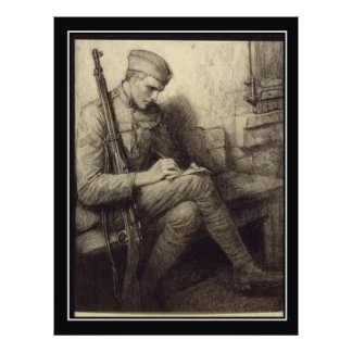 Soldier Writing a letter in France Vintage poster