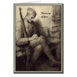 Soldier Writing a Letter Military Thinking of You Greeting Card
