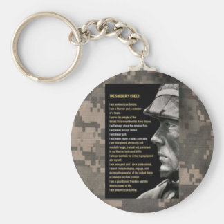 soldiers creed basic round button key ring