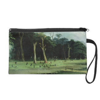 Soldiers Cutting Branches by a River (oil on canva Wristlet Purses