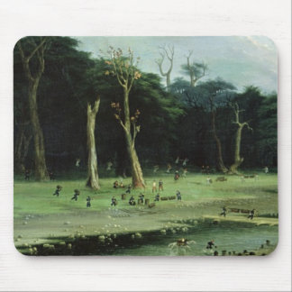 Soldiers Cutting Branches by a River (oil on canva Mouse Mat