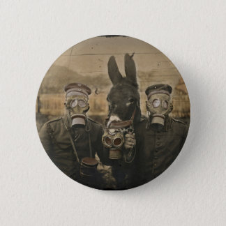 Soldiers Donkey and Gas Masks 6 Cm Round Badge