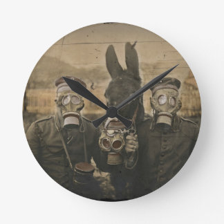 Soldiers Donkey and Gas Masks Round Clock