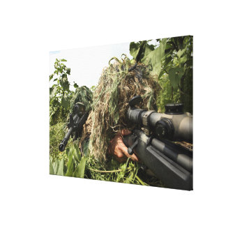 Soldiers dressed in ghillie suits canvas print