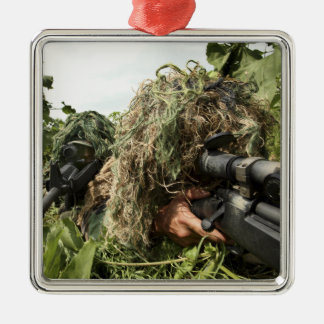 Soldiers dressed in ghillie suits Silver-Colored square decoration