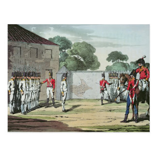 Soldiers Drilling, 1807 Postcard