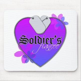 Soldier's Fiancee Heart Shaped Military Dog Tags Mouse Pad