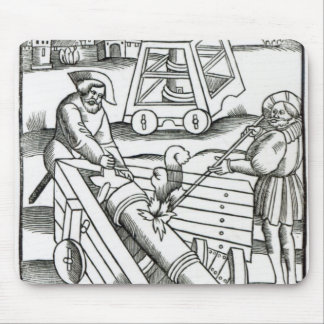 Soldiers firing a cannon mouse mat