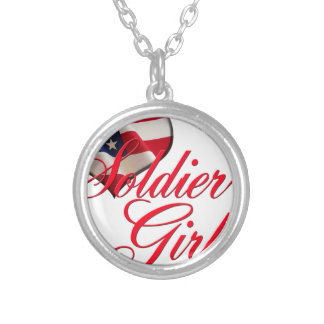 soldier's girl round pendant necklace