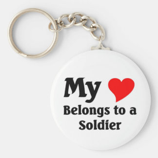 Soldier's heart basic round button key ring