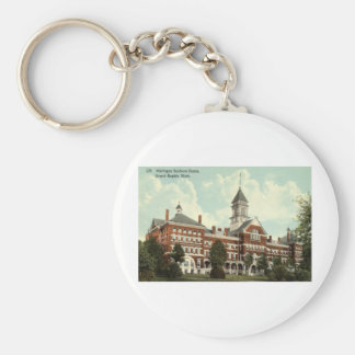 Soldiers Home Grand Rapids MI Repro Vintage 1912 Basic Round Button Key Ring